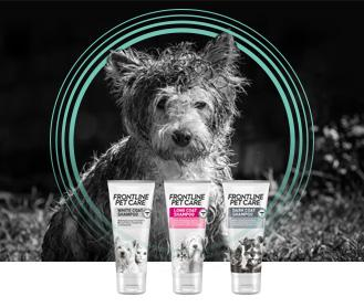 Frontline Pet Care dog with shampoo