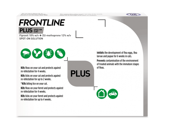 Frontline Spot On flea treatment for cats back of pack